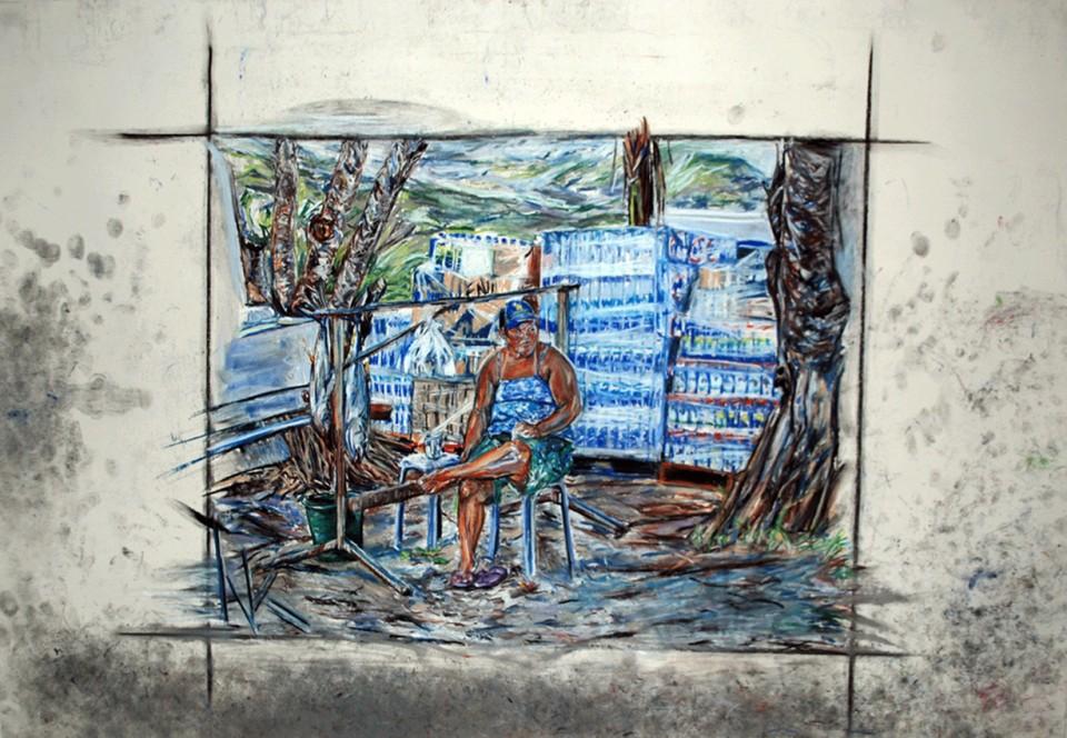 Fishermen's woman (Huahine harbour)